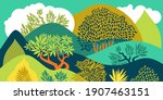 hilly landscape with trees ... | Shutterstock .eps vector #1907463151