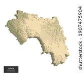 guinea map   3d digital high... | Shutterstock .eps vector #1907475904