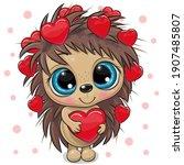 Cute Cartoon Hedgehog with hearts on a white background