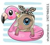 cute cartoon unicorn swimming... | Shutterstock .eps vector #1907486011