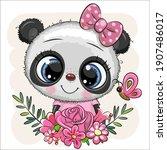 cute cartoon panda with flowers ...   Shutterstock .eps vector #1907486017
