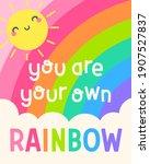 cute sun cartoon and rainbow...   Shutterstock .eps vector #1907527837