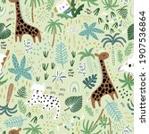 seamless jungle pattern with...   Shutterstock .eps vector #1907536864