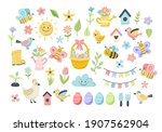 easter spring set with cute... | Shutterstock .eps vector #1907562904
