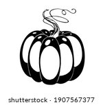 vector drawing pumpkin  black... | Shutterstock .eps vector #1907567377