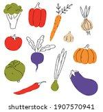 vector set of doodle hand drawn ... | Shutterstock .eps vector #1907570941