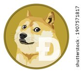 dogecoin doge cryptocurrency... | Shutterstock .eps vector #1907571817