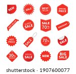 set of sale tags. ribbon sale... | Shutterstock .eps vector #1907600077
