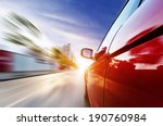 a car driving on a motorway at... | Shutterstock . vector #190760984