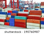 industrial port with containers | Shutterstock . vector #190760987