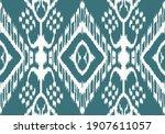 ethnic blue ikat vector chevron ... | Shutterstock .eps vector #1907611057