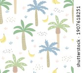 seamless pattern with tropical... | Shutterstock .eps vector #1907618251