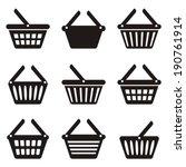 black shopping basket icons...