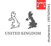 map of united kingdom line and... | Shutterstock .eps vector #1907654341