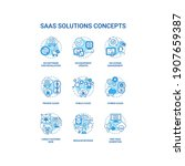 saas solutions concept icons... | Shutterstock .eps vector #1907659387