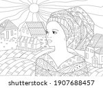 beautiful african woman looking ... | Shutterstock .eps vector #1907688457