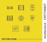 tech icons set with data center ...