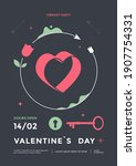 happy valentines day poster... | Shutterstock .eps vector #1907754331