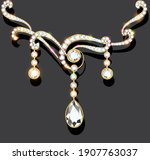 illustration of a gold jewelry... | Shutterstock .eps vector #1907763037