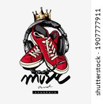 music and sneakers slogan with... | Shutterstock .eps vector #1907777911