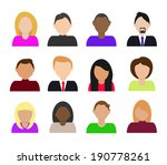 flat avatar icons  | Shutterstock .eps vector #190778261