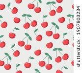 seamless juicy red cherries...   Shutterstock .eps vector #1907803234