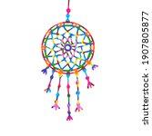 hanging dream catcher   vector... | Shutterstock .eps vector #1907805877