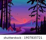 night landscape scene vector...   Shutterstock .eps vector #1907835721