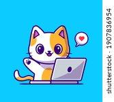 cute cat working on laptop...   Shutterstock .eps vector #1907836954