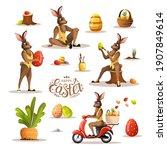 set of happy easter scenes with ... | Shutterstock .eps vector #1907849614