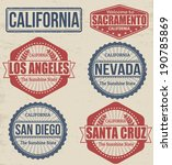 Set of California cities stamps on vintage background, vector illustration - stock vector