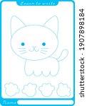 at. preschool worksheet for... | Shutterstock .eps vector #1907898184