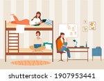 female dormitory roommates live ... | Shutterstock .eps vector #1907953441