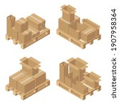 isometric cardboard boxes on...   Shutterstock .eps vector #1907958364