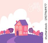 single family two storey house... | Shutterstock .eps vector #1907969977