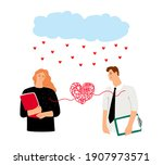 couple in love heart bound.... | Shutterstock . vector #1907973571