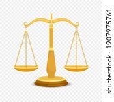 balancing metal scales. gold... | Shutterstock . vector #1907975761