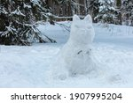 Big Cat Made Of Snow In The...