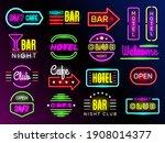 neon glow hotel. night... | Shutterstock . vector #1908014377