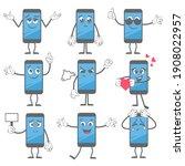 cartoon smartphone. mobile... | Shutterstock . vector #1908022957