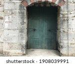 Green Iron Door Inside Old...