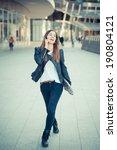 young beautiful woman calling... | Shutterstock . vector #190804121