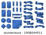 blue ribbons. wrapping silk... | Shutterstock . vector #1908044911