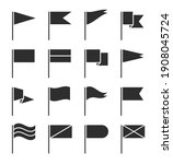 flag icons. waving pennant ...