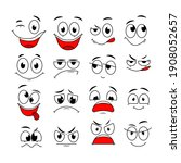 cartoon expressions. cute face... | Shutterstock . vector #1908052657