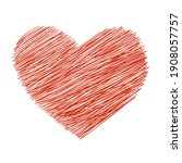 hand drawn heart icon in crayon ... | Shutterstock .eps vector #1908057757