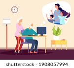 family video call. online...   Shutterstock . vector #1908057994