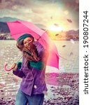Girl In A Stormy Day With Pink...