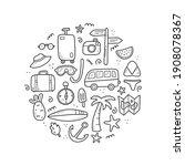 hand drawn set of travel summer ... | Shutterstock .eps vector #1908078367