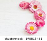 Pink Daisy On White Wooden...